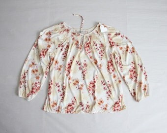 1970s floral blouse / smocked blouse / secretary blouse