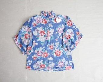 70s floral blouse / ruffle collar blouse / blue floral blouse