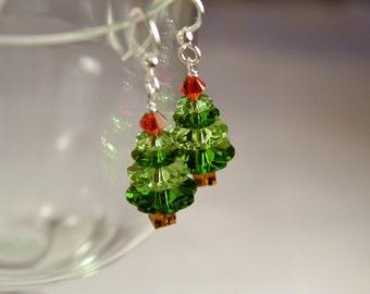 Swarovski Crystal Holiday Tree Earrings, Christmas Earrings, Christmas Tree