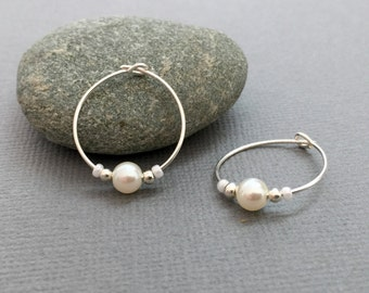 Sterling Silver Hoops, Classic Hoops, Silver Pearl Earrings, Elegant White Pearl Hoops, Pearl Earrings, White Pearl Bridesmaid Earrings