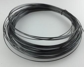 5 Feet 24 Gauge ROUND Dark Oxidized Sterling Silver Wire - Dark Patina Gunmetal Finish