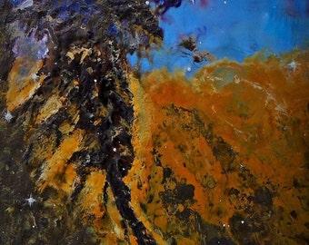 Eagle Nebula - Original Encaustic Wax Space Painting