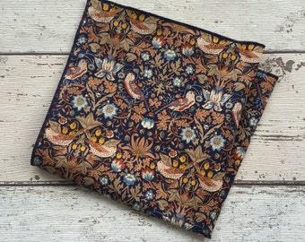 Liberty London Pocket Square. William Morris 'Strawberry Thief', Hankerchief, Groom Accessory, Dapper Groom, Hipster, Best Man Gift