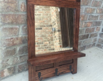 Stained Oak Entry Mirror w/ Shelf & Hooks