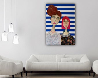 "acrylic painting canvas original painting modern art ""Das höchste Glück"" blue white maritime wall art female portrait quote Hugo  modern art"