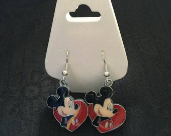 Silver Plated Disney Mickey Mouse Heart Earrings