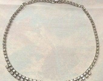 Art Deco Rhinestones Silver Choker, Diamanté, 2 Rows Rhinestones Silver Choker Necklace 1743-8