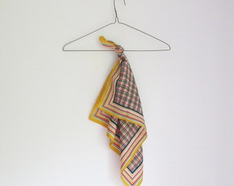 Vintage 60s Plaid Square Scarf - Made in Italy
