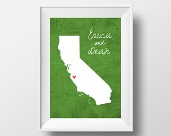 California State Love Art with Names on 8x10 DIGITAL ITEM - Print Yourself