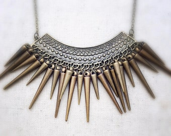 Statement necklace, tribal necklace, gold necklace, geometric necklace, brass necklace, statement necklaces, edgy necklace
