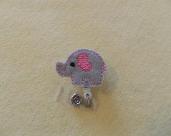 Elephant Gray Pink Heart Badge Reel, Medical Badge Reel, ID Badge Holder, Retractable Belt or Alligator clip, Felt, Feltie, Animal,