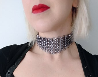 Arya Chainmail Choker - adjustable bronze black silver maille chain GOT inspired medieval ren LARP cosplay steampunk goth burlesque necklace