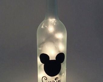 Personalized Mickey Mouse Wine Bottle Lamp / Disney / Custom Gift