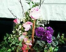 Silk Floral Arrangement, Silk Funeral Arrangement, Basket of Flowers, Silk Arrangements, Floral Arrangement