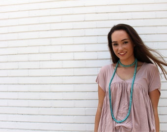 Beaded Double Wrap Necklace - Teal, Turquoise Blue