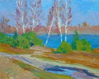 VINTAGE OIL LANDSCAPE Original Oil Painting by a listed Ukrainian Skobelsky N. 1980s River Painting Ukranian Art Fine Art One of a Kind