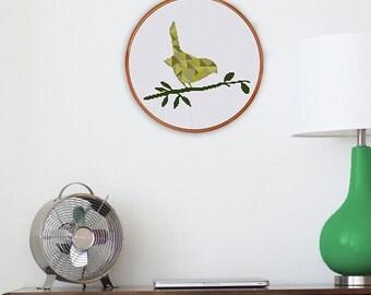 Geometric Bird cross stitch pattern, decor cross stitch pattern, modern cross stitch pattern, bird cross stitch pattern, silhoutte pattern