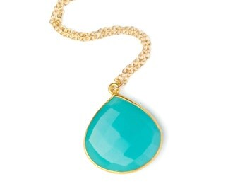Aqua Chalcedony Necklace, Aqua Necklace, Aqua Blue Jewelry, Gemstone Pendant Necklace, Gold Gemstone Necklace, Blue Chalcedony Necklace