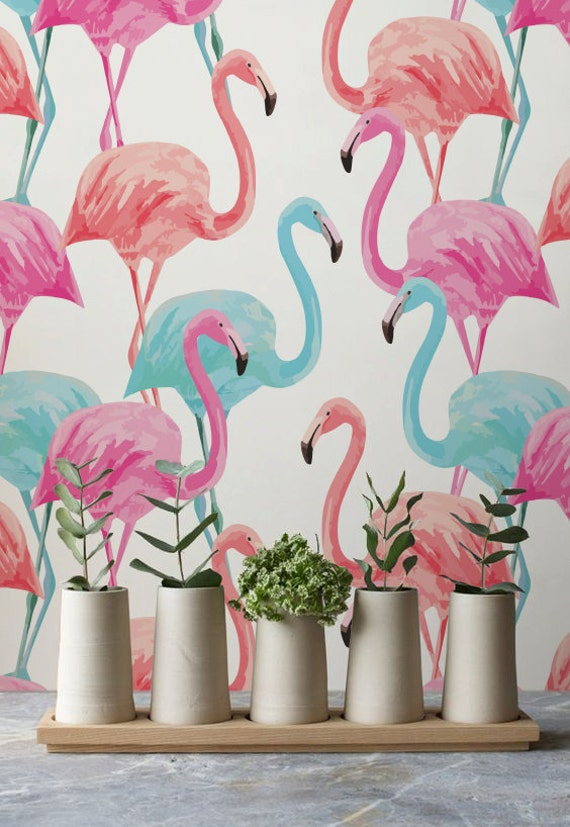 Colorful Flamingo Removable Wallpaper Watercolor By