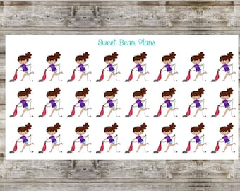 Hand Drawn Doodle Girls- Vacuum/Cleaning Planner Stickers