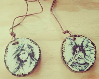 Wood Necklace Fairy Elf
