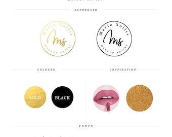 Makeup Logo Design Gold Makeup Logo Makeup Artist Logo Lips Logo Design