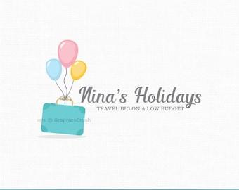 Travel Blog Logo Blog Logo Design Balloons Logo Design Suitcase Logo Holidays Logo