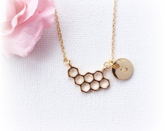 Gold Honeycomb Necklace, Bee jewelry, gold bee necklace, Gold Honeycomb, Birthday gift, Nature necklace, Initial necklace, Gift Idea
