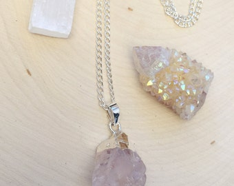 Electroformed Rose Quartz Necklaces, Raw Rose Quartz Necklace, Silver Plated Rose Quartz Necklace