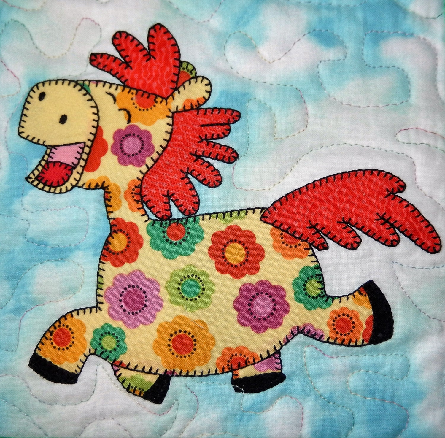 Horse Or Pony PDF Applique Quilt Block Pattern Farm Animal