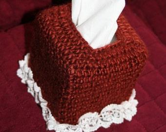 Crocheted Tissue Box Cover, Decorative Tissue Box Cover