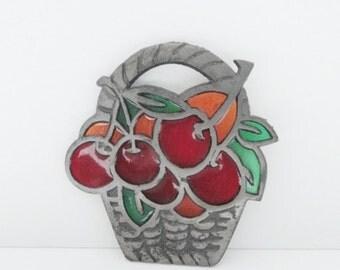 Life is a Bowl of Cherries Trivet // Stained Glass //  Cast Iron Suncatcher // Summer fruit
