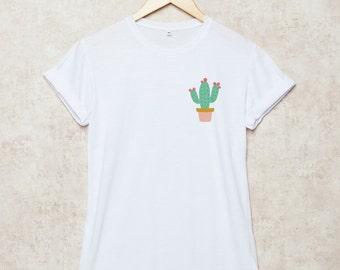 Cactus Shirt Pocket Succulent Shirts Tee Unisex T-Shirt Size S , M , L , XL , 2XL , 3XL Grey White