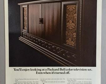 1967 Packard Bell Color Television Print Ad - CRW 606 Tamerlane Renaissance Antigua Walnut