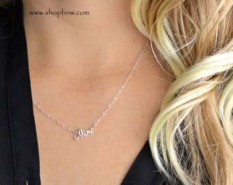 Mimi Necklace / Sterling Silver/ Delicate Necklace / Silver Necklace, new mom, new grandma, new aunt, new baby