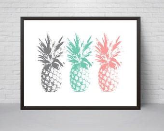 Pineapple Wall Art Print, Teal Mint Pink Grey Printable Poster, Modern Minimalist room decor, Nursery Decor, Summer Art Print, Home decor