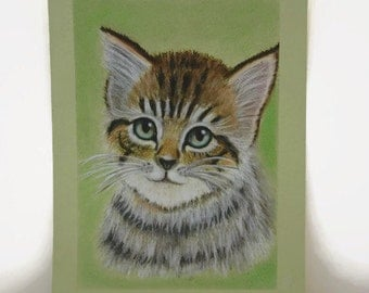 Pet portrait Original painting Kitten painting Pastel painting  Popular painting Painting pet Animal cat Favorite animal Cat favorite