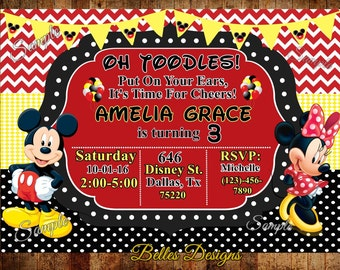 Mickey & Minnie Birthday Invitation 4x6 or 5x7