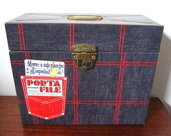 Vintage 60s Porta File Box with Key Blue Denim with Red Grid Print