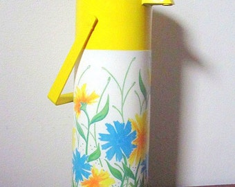 Vintage 70s Aladdin Pump-a-Drink Thermal Drink Server / Yellow with Bright Floral Design