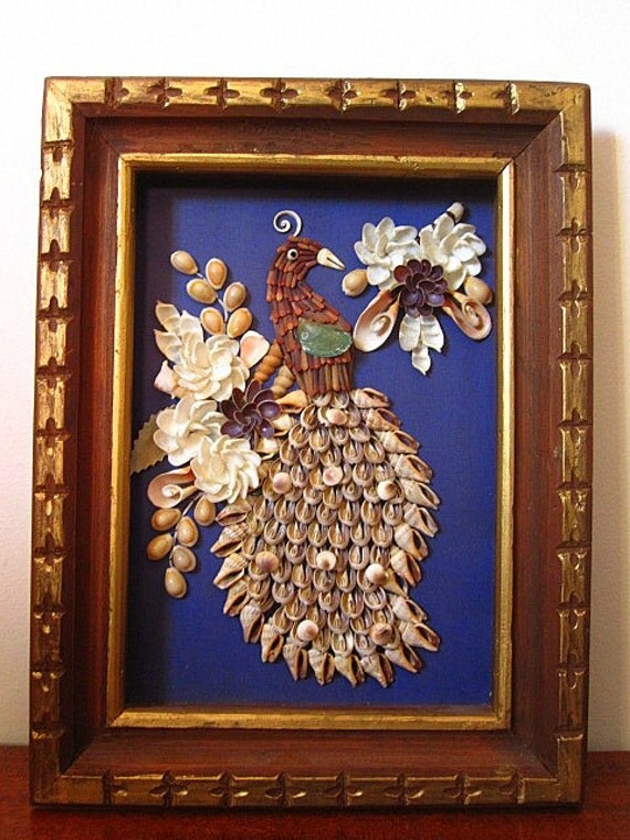 Vintage 60s Peacock Bird Sea Shell Art Shadow Box Sculpture