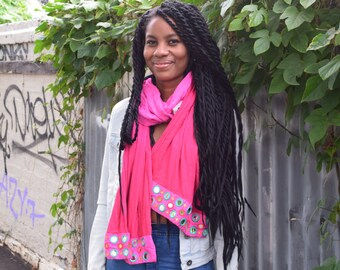 Bright pink two-toned gradient scarf