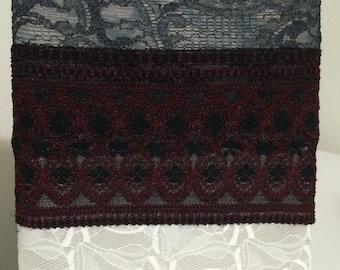 Burgundy and black lace Headband