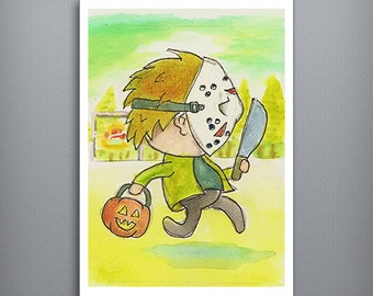 "HALLOWEEN KIDS: Jason Voorhees  - Trick or Treating boy in a Jason Voorhees costume 5"" x 7"" Watercolor Fine Art Print"