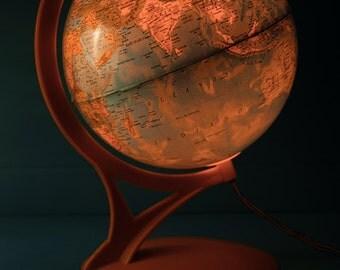 Rare vintage light globe world map, seventies design