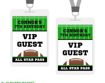 Football Party VIP Passes, All Access Party Badges, Printable Birthday Decorations, Editable Text, Personalize with Adobe Reader