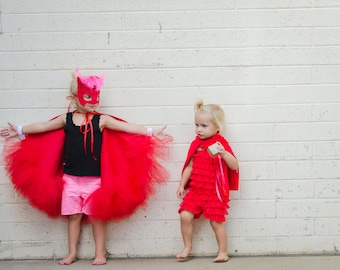 Lux Owlette Costume - Wings and Feather Mask-red wings feather mask costume  - PJ Masks Owlette Mask costume