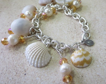 Orange Zig Zag Pearl Shell Charm Bracelet