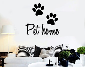 Wall Vinyl Decal Dog Front Paw Prints Quote Pet Home Abstract Pets Modern Home Decor (#1135di)