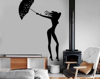 Wall Vinyl Decal Sexy Girl Woman With Umbrella Very Romantic Amazing Decor 1384dz